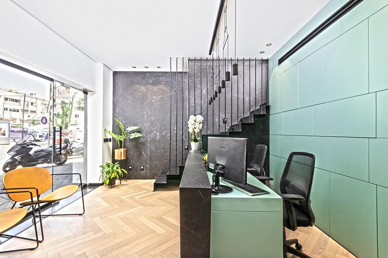 עיצוב פנים של משרדי נדלן בתל אביב אדריכלית ומעצבת פנים דובניקוב מריאנה מיטל שומר מסטודיו - אלמנטס אדריכלות ועיצוב פנים